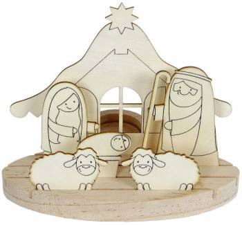 Tealight holder Christmas crib small natural kit craft