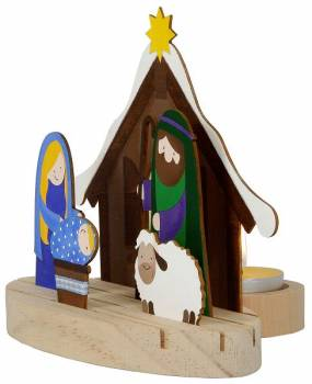 Tealight holder Christmas crib small as an example