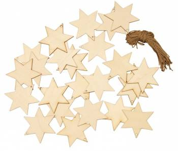 "Wooden pendant ""star"" set of 24 natural"