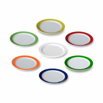 6 dessert plates flat in 7 strong colors