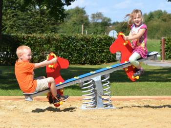 Spring seesaw red seahorse with happy teetering children