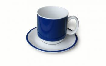 Handle cup 0,3 l blue with matching saucer saucer as example