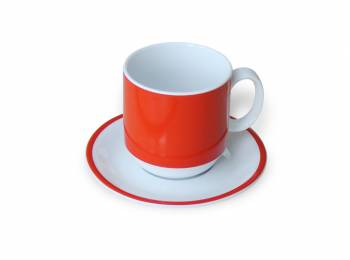 Handle cup 0,3 l orange with matching saucer saucer as example