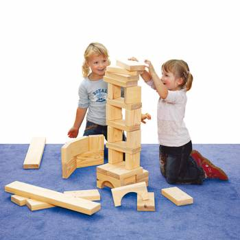 Large wooden blocks natural with playing children