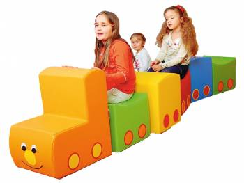 seat and play train Emma with three happy girls
