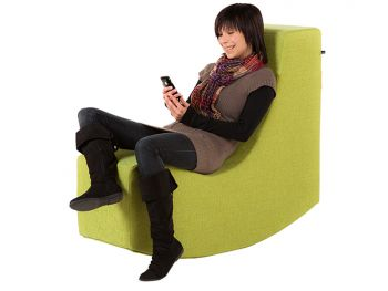 read seesaw with relaxing woman and her smartphone