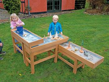 sand and watertable set of 3 wood with playing children