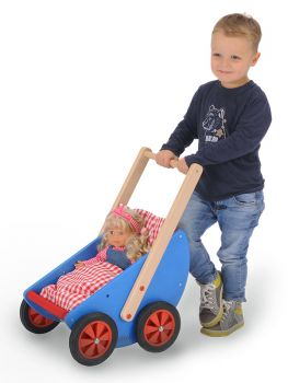 Doll carriage Roby with happy playing boy