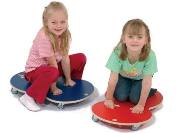 rolling board rolletti red and blue with happy little girl