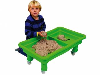 Sand and water play table, with roller set and child