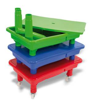 Sand and water play table, mat table rectangular in 3 colors with option rols