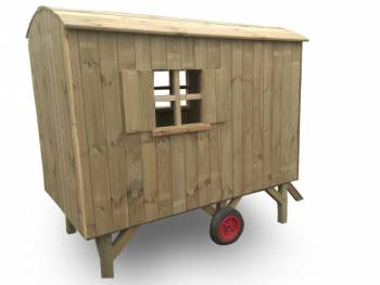 Playhouse construction trailer pine back side view