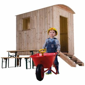 Playhouse constraction trailer larch with a happy little construction worker