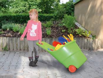 Toy trolley with happy child