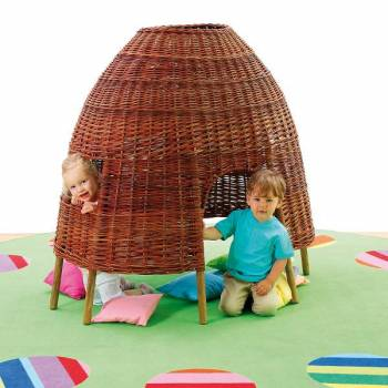 willow hut in the kindergarten room with children