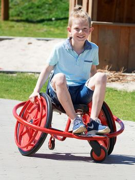 winther wheely rider front view with playing child