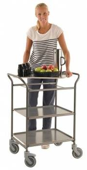 Shelf trolley with 3 trays anthracite in action