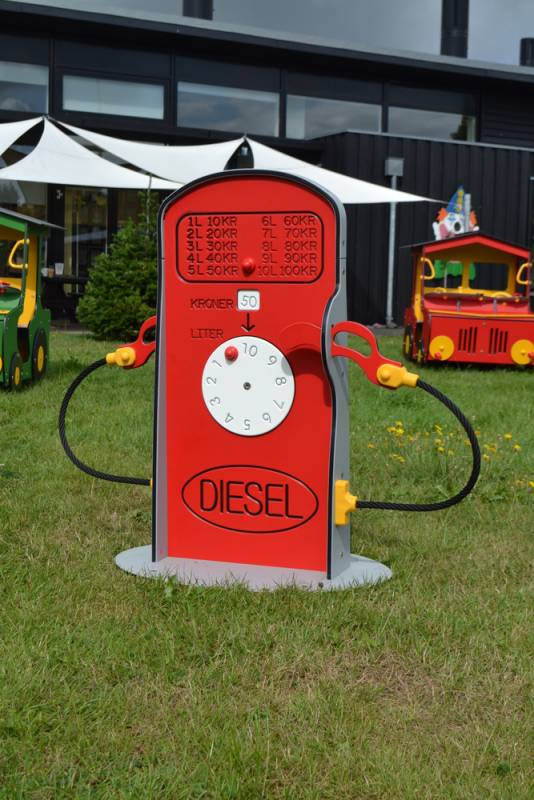 Tank and petrol pump in the garden
