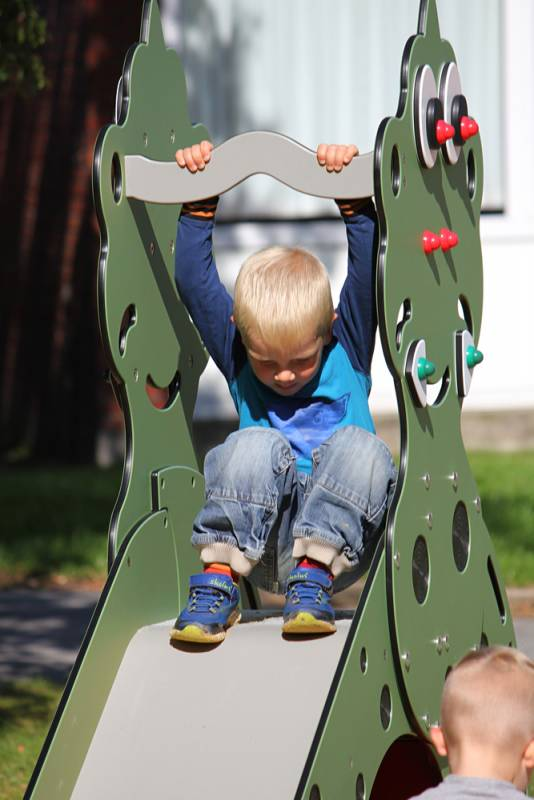 Dino slide with sliding little boy