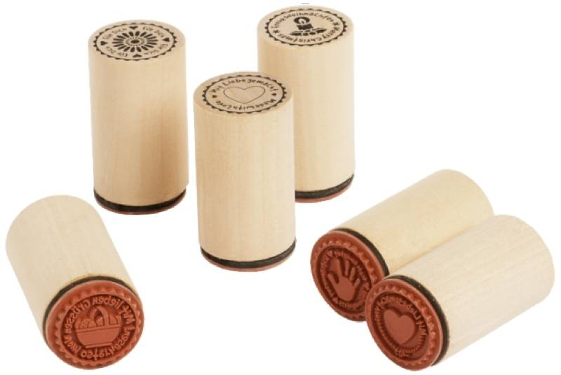"Wooden stamp ""Made with ..."", 6 pcs."