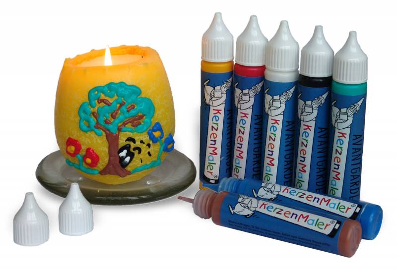 Candles painter set with 7 colors each 25 ml with example
