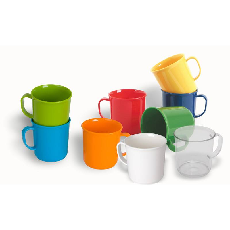 Handle cup Available in 8 bright colors and transparent clear made