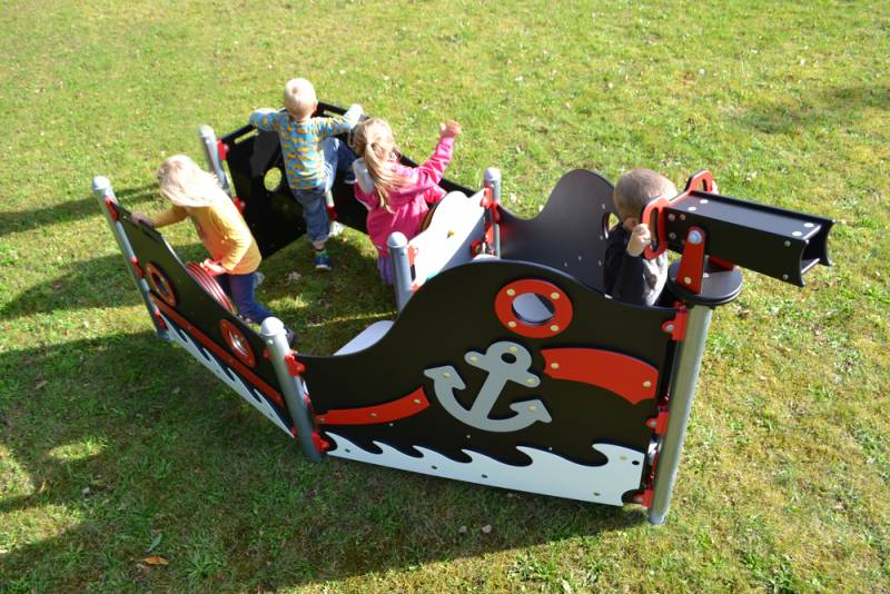 Piratenschiff mini-Piratenbeiboot schwarz,rot-erobert durch kleine Piraten