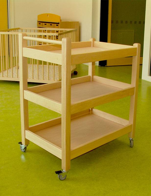 Serving cart beech wood in kindergarten room