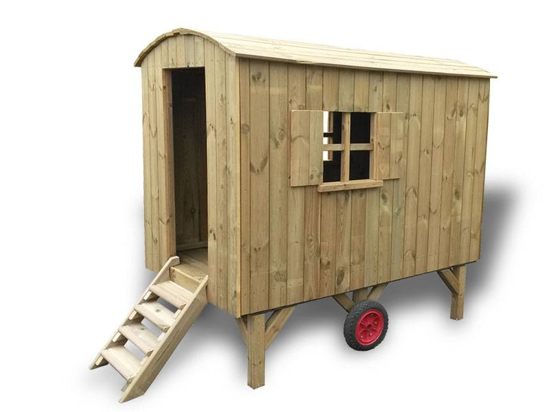 Playhouse construction trailer pine front side view