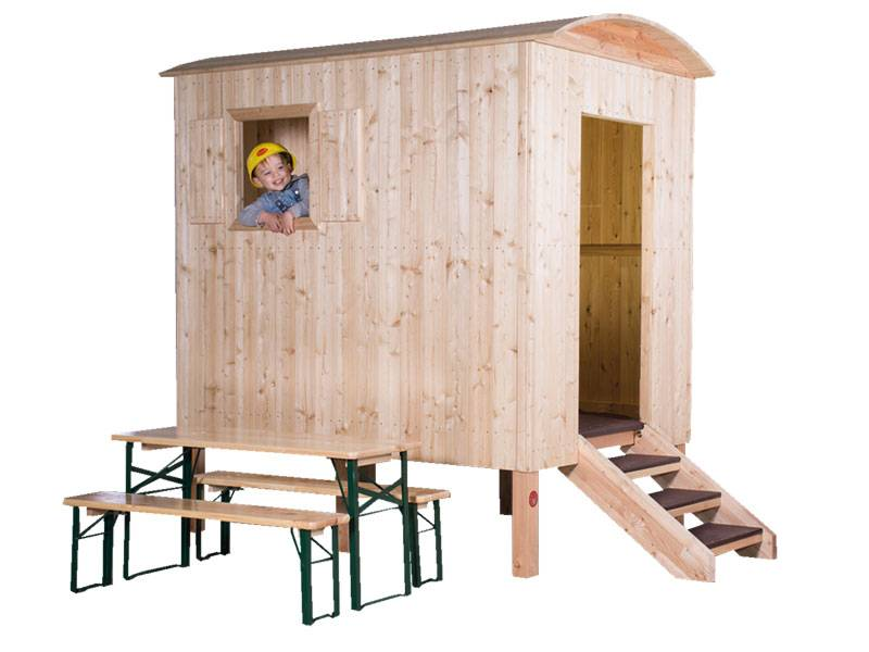 Playhouse constraction trailer larch with child inside and seat set before as an example