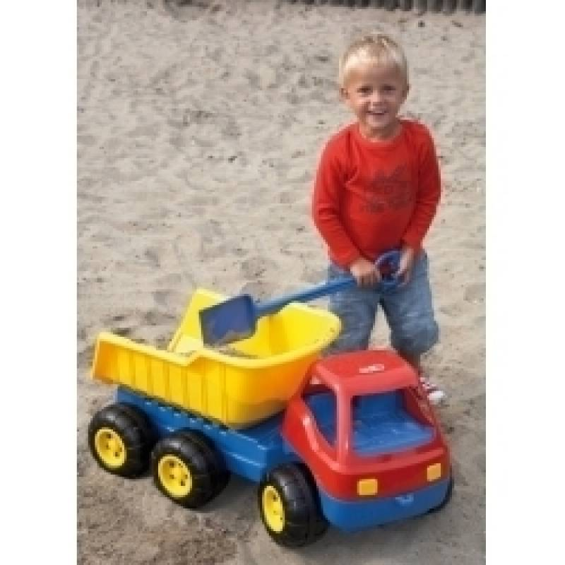 Dump Truck Giant in the sandbox with child