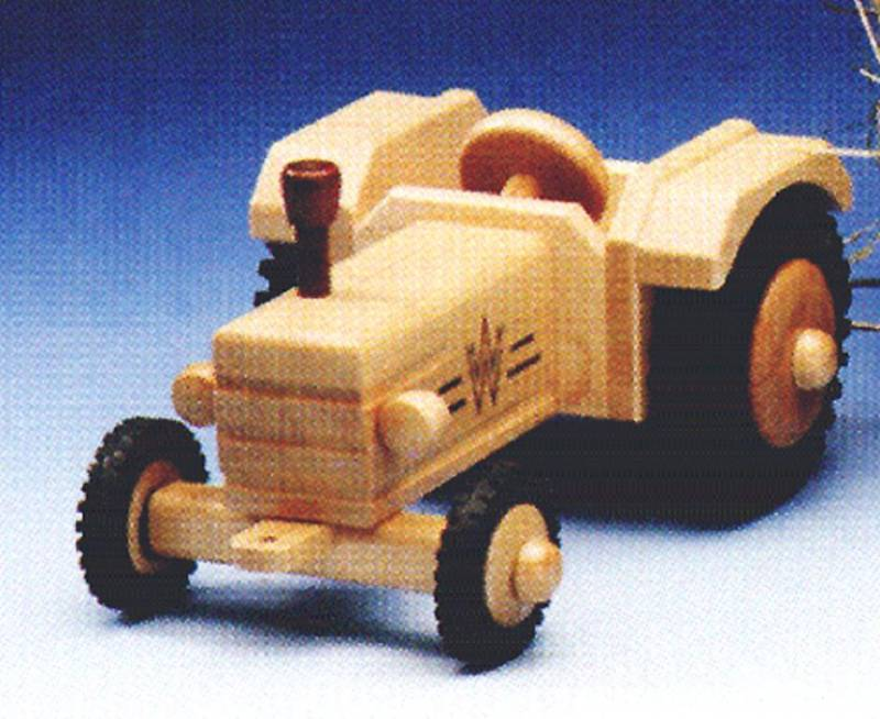Wooden tractor without cab